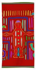 Hand Towel featuring the digital art Kuna Indian Mola Crucifix by Vagabond Folk Art - Virginia Vivier