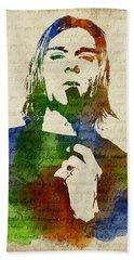 Kurt Cobain Watercolor Hand Towel