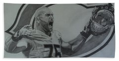 Bath Towel featuring the drawing Kyle Long Portrait by Melissa Goodrich