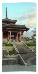 Hand Towel featuring the photograph Kyoto Temple by Corinne Rhode