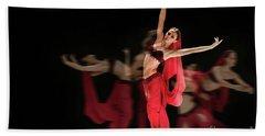 Bath Towel featuring the photograph La Bayadere Ballerina In Red Tutu Ballet by Dimitar Hristov