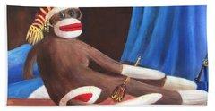 Bath Towel featuring the painting La Grande Sock Monkey by Randol Burns