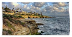 La Jolla Coastline Hand Towel by Eddie Yerkish