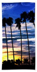 La Jolla Silhouette - Digital Painting Hand Towel by Sharon Soberon