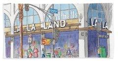La La Land And Marshalls Stores In Hollywood Blvd., Hollywood, California Hand Towel