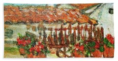 Hand Towel featuring the painting La Mancha by Mindy Newman