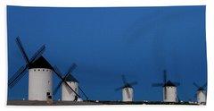 Hand Towel featuring the photograph La Mancha Windmills by Heiko Koehrer-Wagner