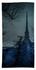 Hand Towel featuring the photograph La Mole Antonelliana-blu by Sonny Marcyan