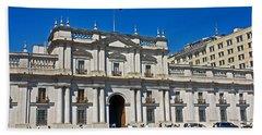 La Moneda Palace On Plaza De Constitucion Where Allende Was Killed In The 1973 Coup In Santiago-chil Hand Towel