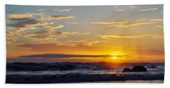 Bath Towel featuring the photograph La Piedra Sunset Malibu by Kyle Hanson
