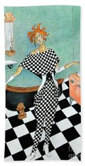 La Toilette -- Woman In Whimsical Art Deco Bathroom Hand Towel