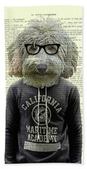 Labradoodle Dog Portrait Art Bath Towel