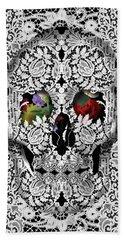 Lace Skull White Hand Towel by Bekim Art