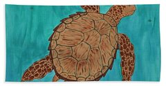 Bath Towel featuring the painting Lacey's Sea Turtle by Susie WEBER