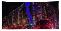 Ladder Truck Deployed At Night Bath Towel by Jeff at JSJ Photography