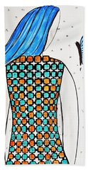 Lady And Butterfly Hand Towel