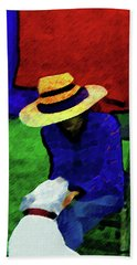 Lady And Puppy Painting Bath Towel