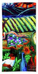 Bath Towel featuring the painting Lady And The Grapes by Genevieve Esson