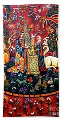 Bath Towel featuring the painting Lady And The Unicorn Sound by Genevieve Esson