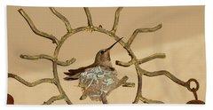 Lady Hummingbird On Her Nest Bath Towel