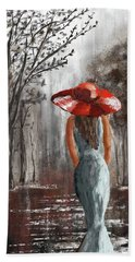 Lady In A Red Hat Hand Towel