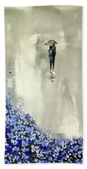 Lady In Blue Hand Towel