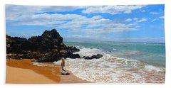 Lady On Hawaiian Beach  Bath Towel