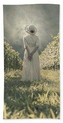 Lady In Vineyard Bath Towel
