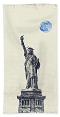 Lady Of Libery And Freedom By Adam Asar 3 Hand Towel