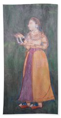 Bath Towel featuring the painting Lady Of The Court by Vikram Singh