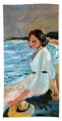 Lady On The Beach Hand Towel
