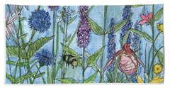 Hand Towel featuring the painting Lady Slipper In My Garden  by Laurie Rohner
