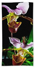 Hand Towel featuring the photograph Lady Slipper Orchid by Elf Evans