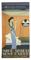 Lady Smoking In Couchette, Railway Poster Bath Towel