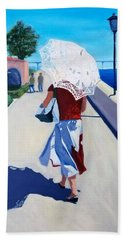 Lady With A Parasol Hand Towel