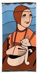 Lady With An Ermine By Piotr Bath Towel