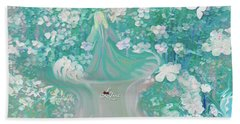 Lady With Love Of The Fountain Bath Towel by Sherri's Of Palm Springs