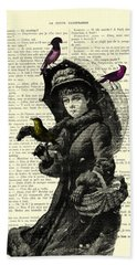 Lady With Umbrella In Winter Landscape Print On Old Book Page Hand Towel