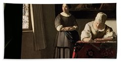 Lady Writing A Letter With Her Maid Bath Towel