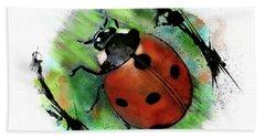 Ladybug Drawing Hand Towel