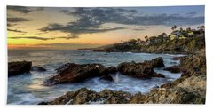 Laguna Beach Coastline Hand Towel by Eddie Yerkish