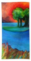 Bath Towel featuring the painting Laguna Blu by Elizabeth Fontaine-Barr