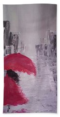 Bath Towel featuring the painting Laidy In The City Abstract Art by Sheila Mcdonald