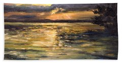 Hand Towel featuring the painting Lake by Arturas Slapsys