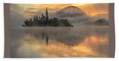 Lake Bled Sunrise Slovenia Bath Towel