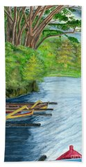 Bath Towel featuring the painting Lake Bratan Boats Bali Indonesia by Melly Terpening