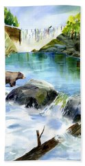 Lake Clementine Falls Bear Hand Towel