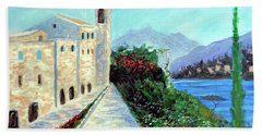 Hand Towel featuring the painting Lake Como Colors  by Larry Cirigliano