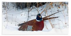Hand Towel featuring the photograph Lake Country Pheasant 2 by Will Borden