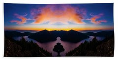 Lake Crescent Reflection Hand Towel